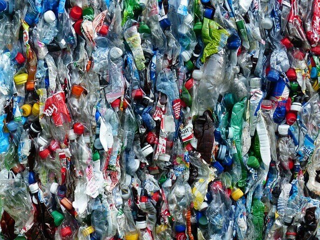 photo of plastic bottles baled for recycling