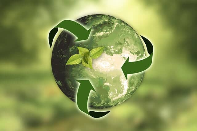 image of recycling symbol around earth