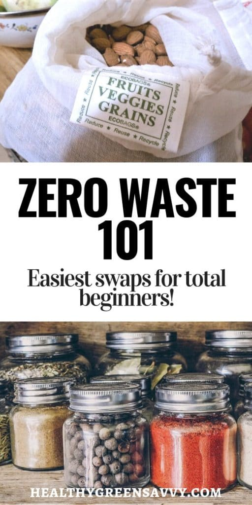 zero waste pin with images of spices in jars and almonds in cloth bag