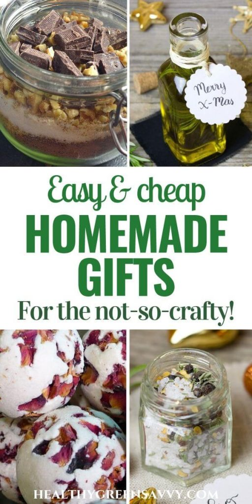 pin with photo collage of homemade gifts like infused oil, bath bombs and bath salts with title text