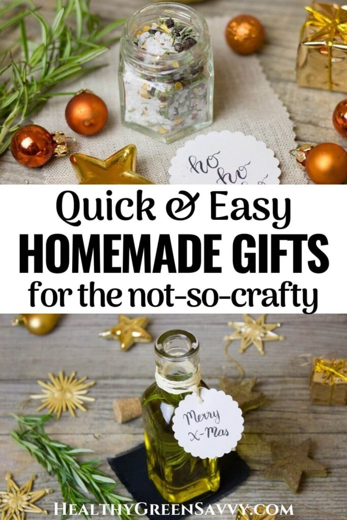 pin with photos of easy homemade gifts plus title text