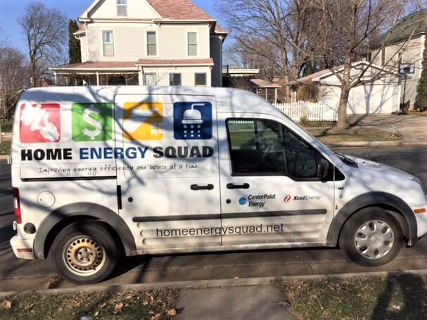 home energy audit -- photo of energy squad van