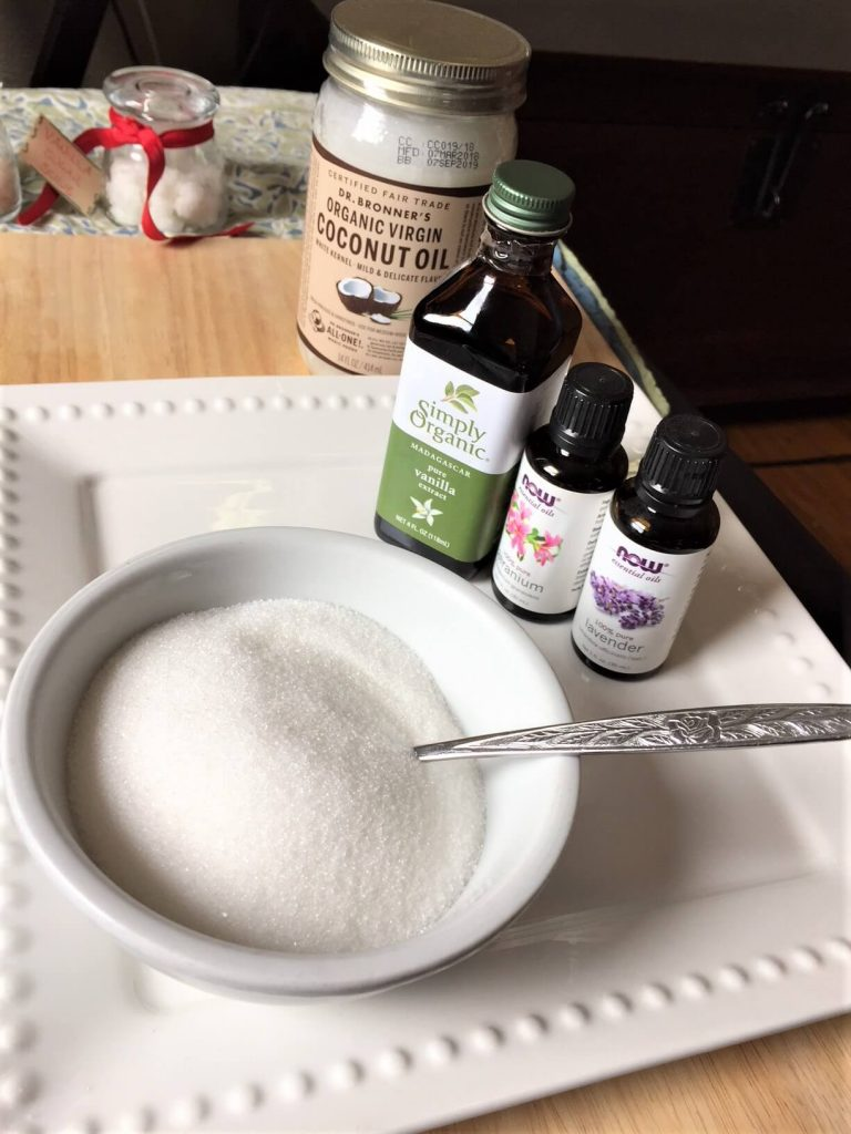 homemade sugar scrub -- oils and sugar