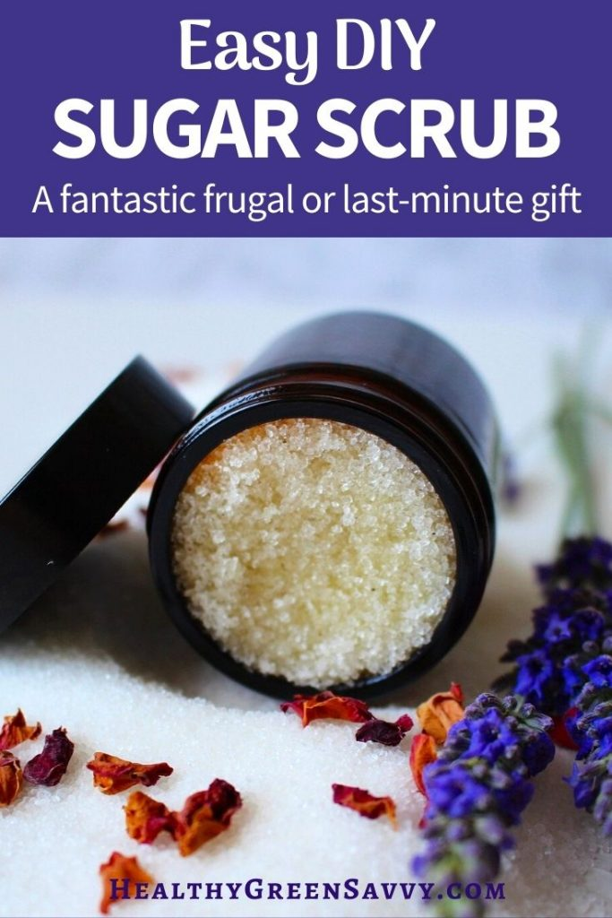 cover with photo of homemade sugar scrub in jar and title text