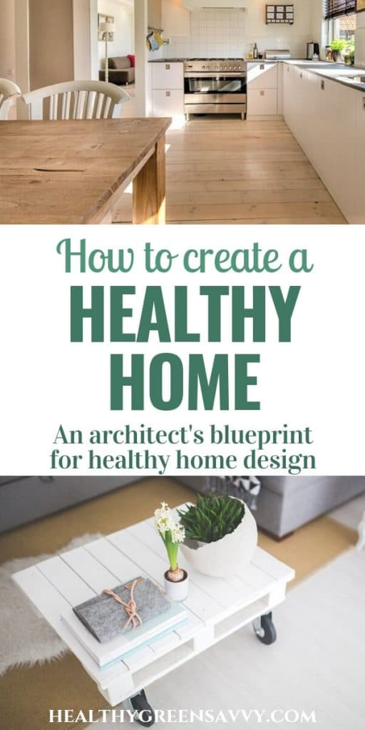 healthy home --- pin with photos of kitchen and living room wih title text
