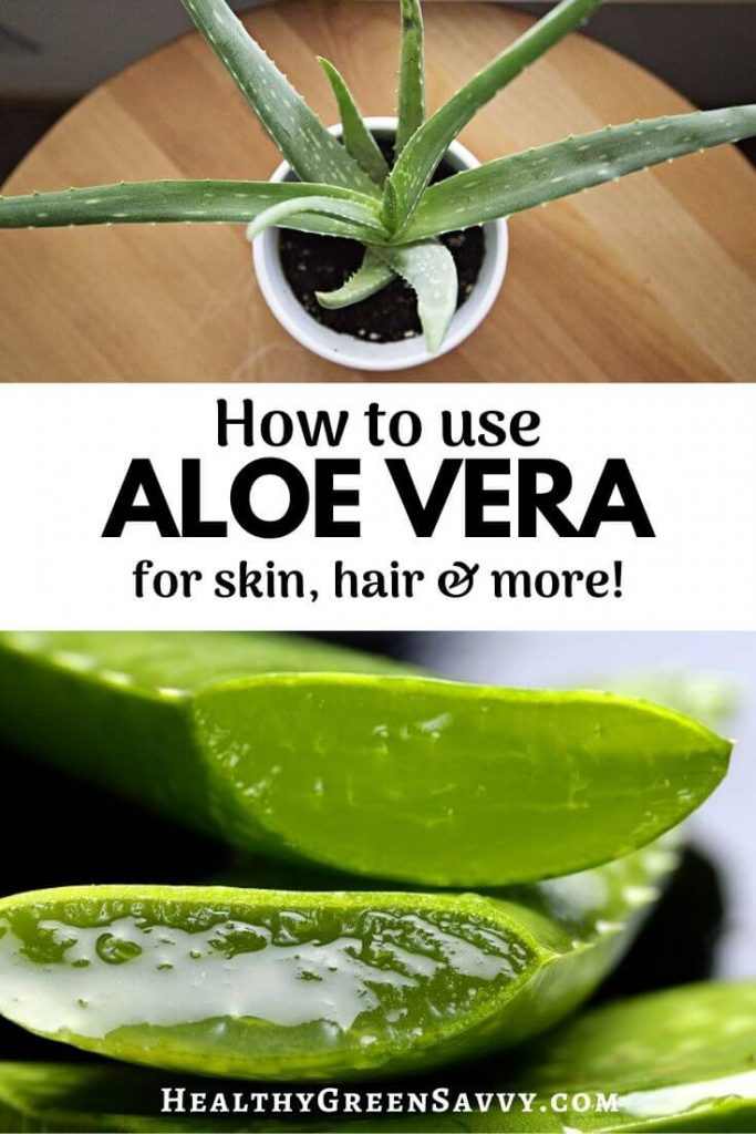 pin with photos of aloe plant and cut aloe leaf with title text