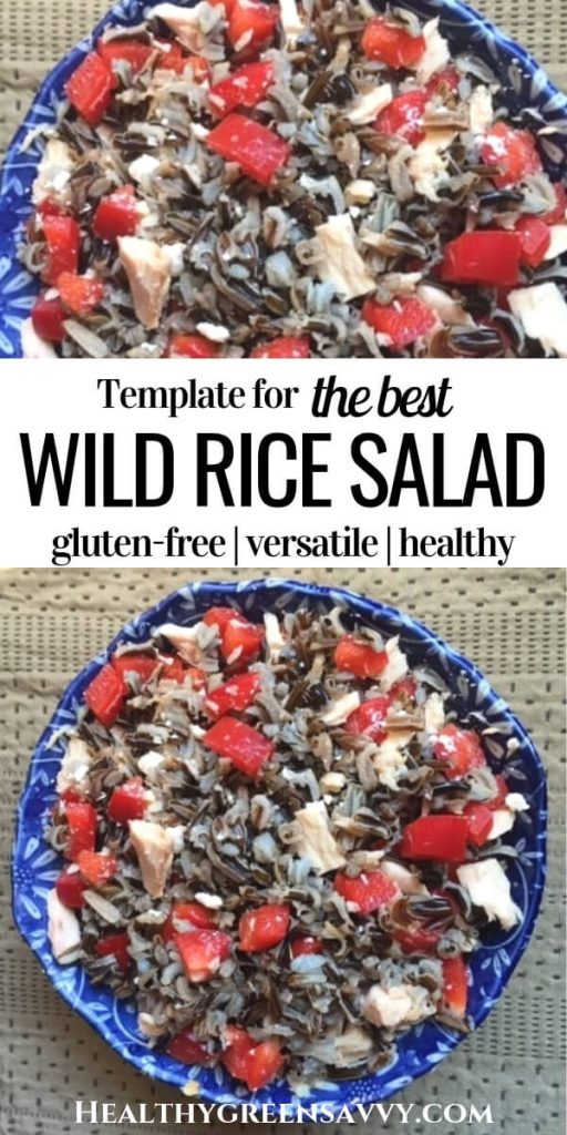 wild rice salad recipe -- pin with title text and photos of wild rice salad in bowl