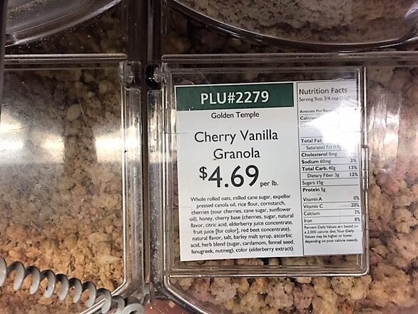 photo of granola in bulk bin