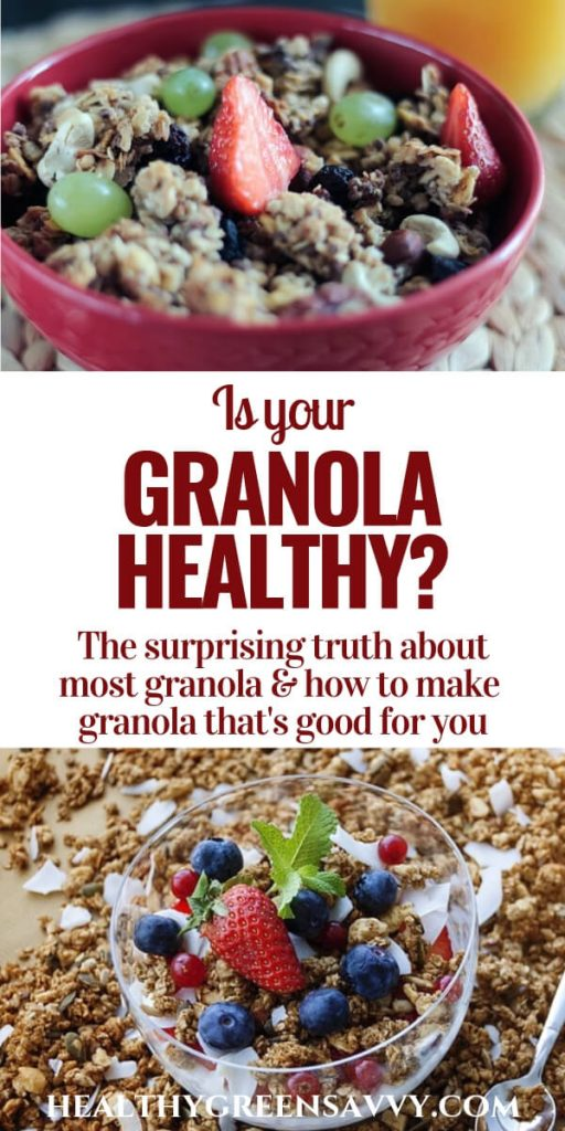 pin with photos of granola in bowl and title text