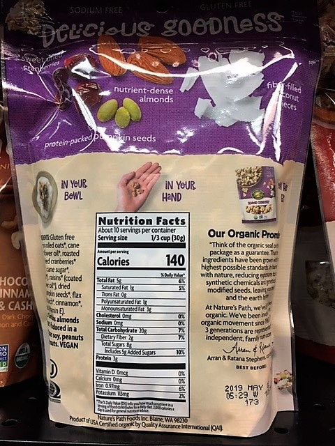 photo of nutrition label on package of granola