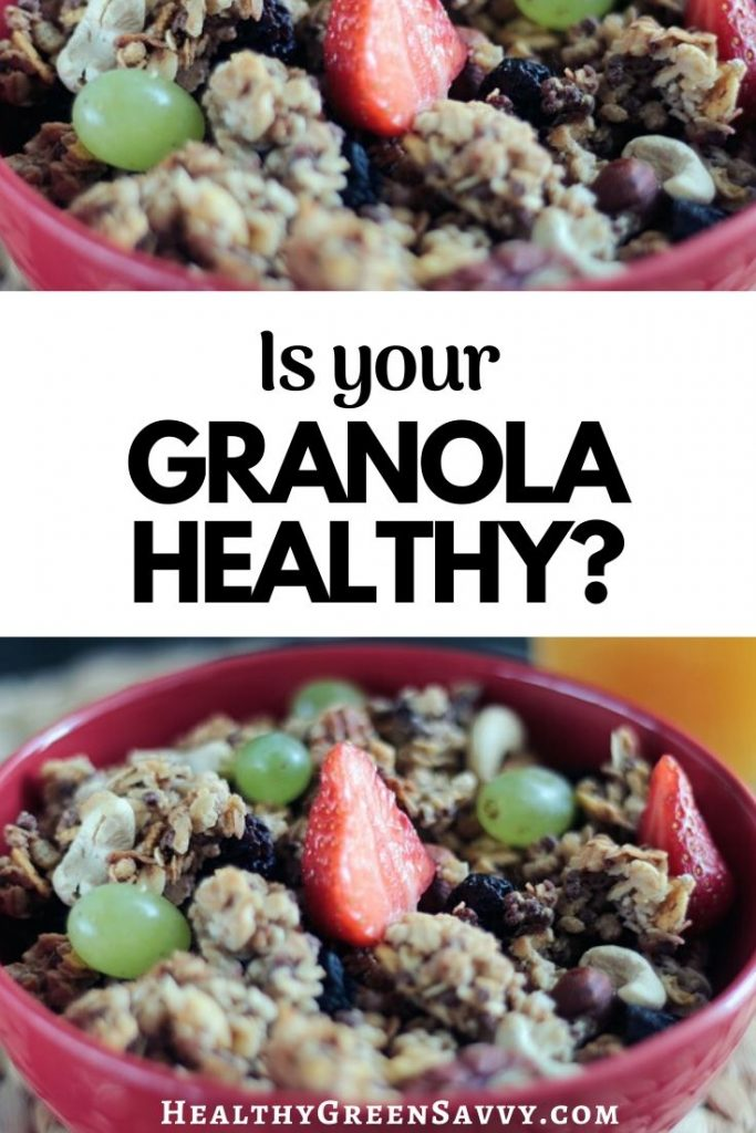 pin with photo of bowl of granola and title text