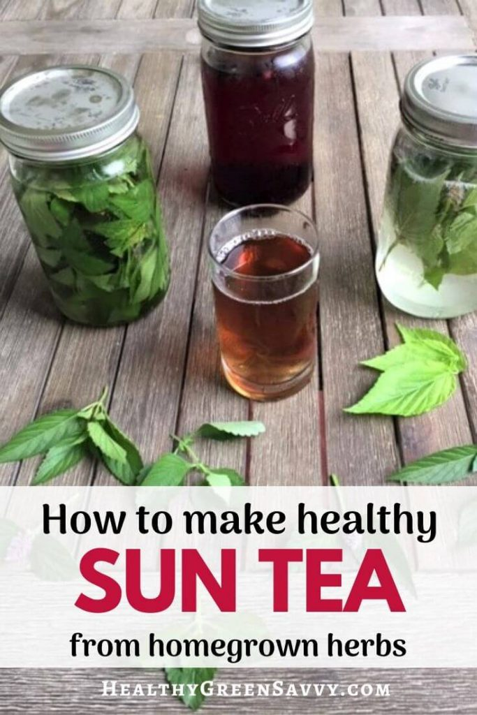 pin with photo of brewed sun tea with herbs and title text overlay