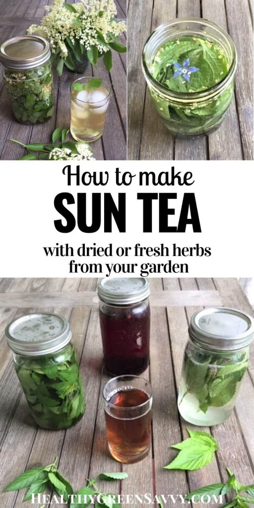 pin with title text and photos of brewed sun tea with herbs elderflower, borage, hibiscus, and mint