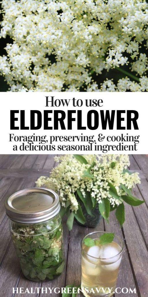 pin with photos of elderflower and elderflower lemon balm tea with title text