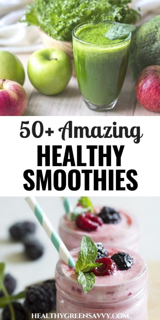 pin with photos of easy healthy smoothies with title text
