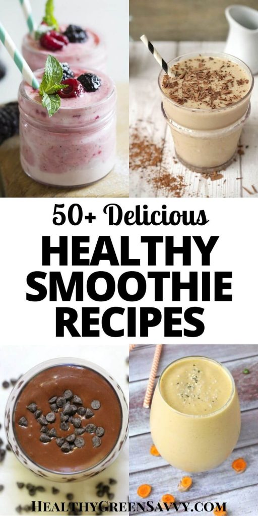 pin with photos of four easy healthy smoothies with title text