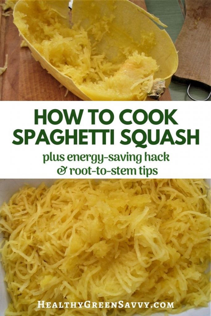 pin with title text and photos of cooked spaghetti squash