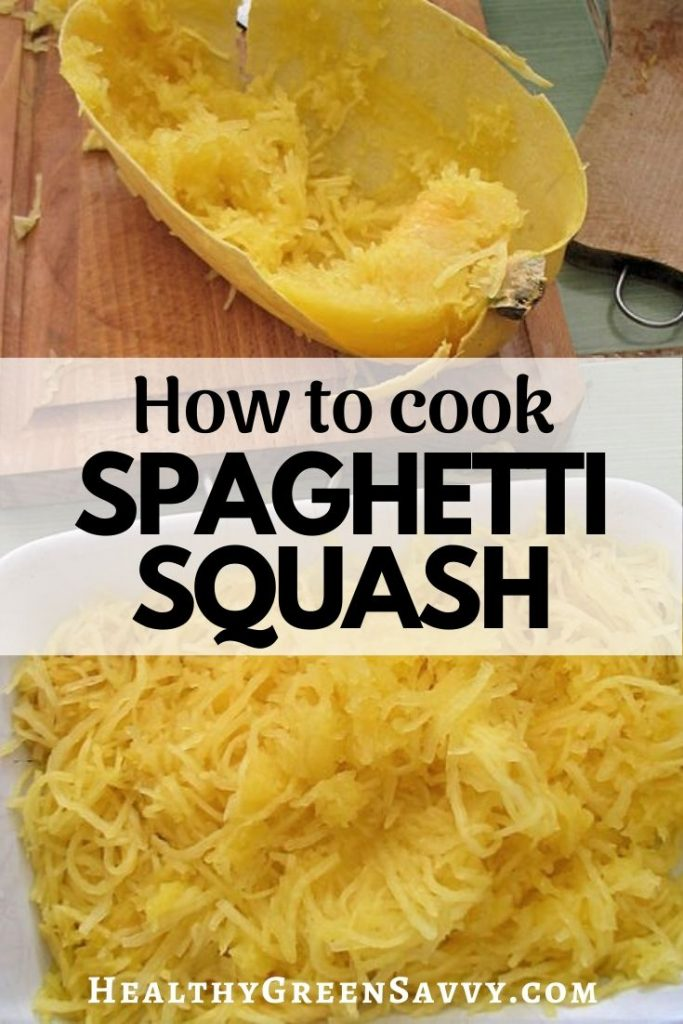 pin with photos of cooked spaghetti squash and title text