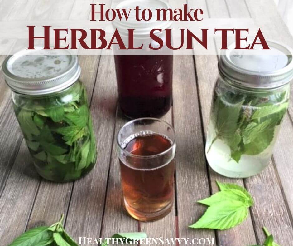 photo of brewed sun tea with herbs