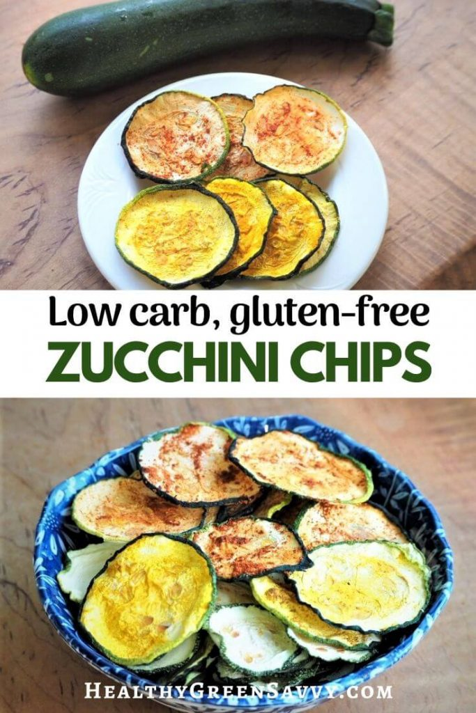 pin with title text and photos of spiced zucchini chips on plate and in bowl