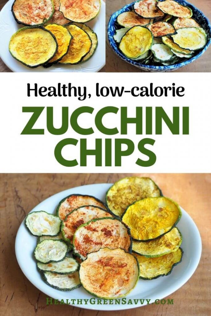 pin with photos of zucchini chips and title text