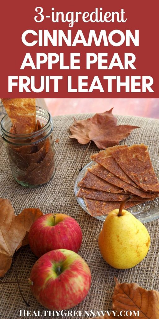 pin with photos of apple pear fruit leather on plate with title text