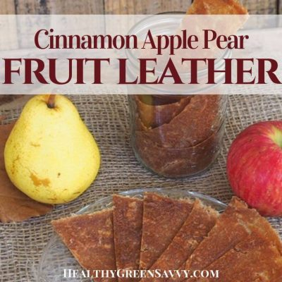 cover photo of apple pear fruit leather on plate with title text