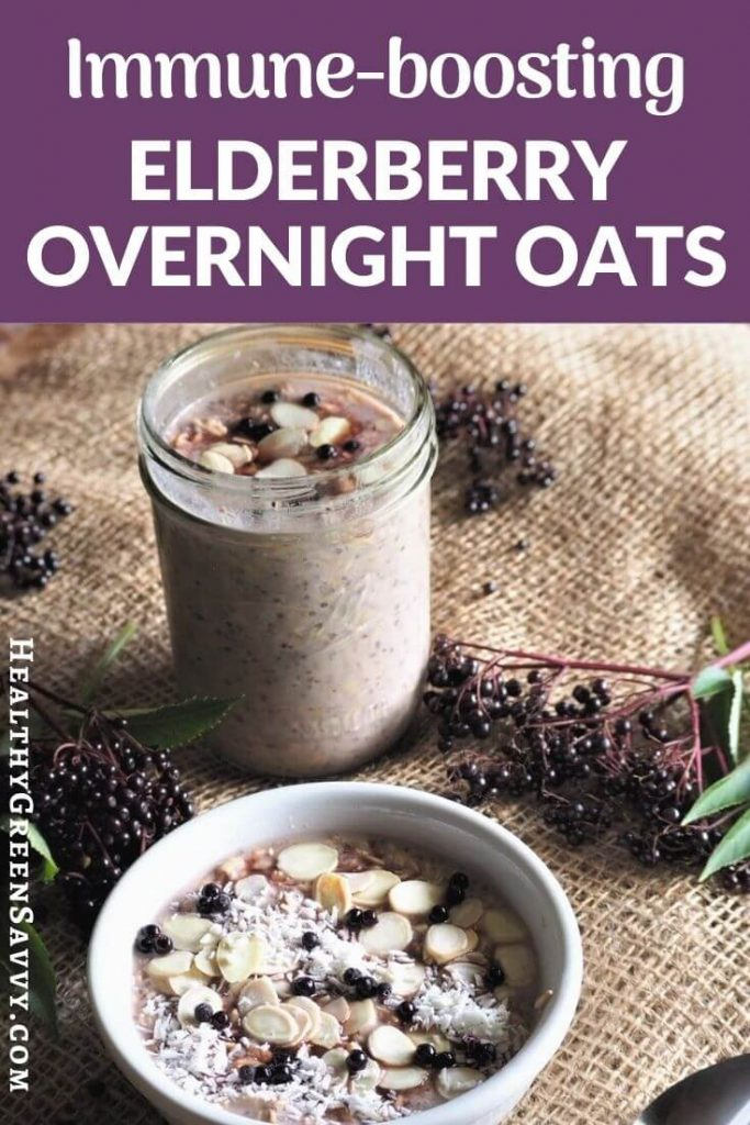 pin with title text and photo of healthy overnight oats recipe with elderberry