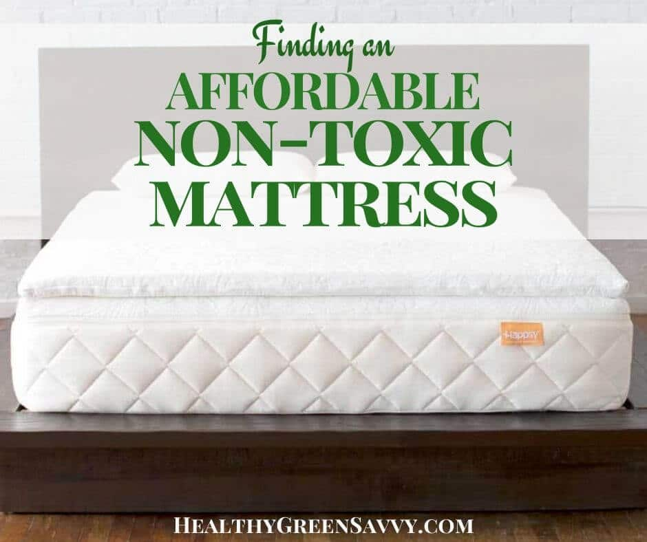 cover photo of Happsy's affordable non-toxic mattress with title text overlay