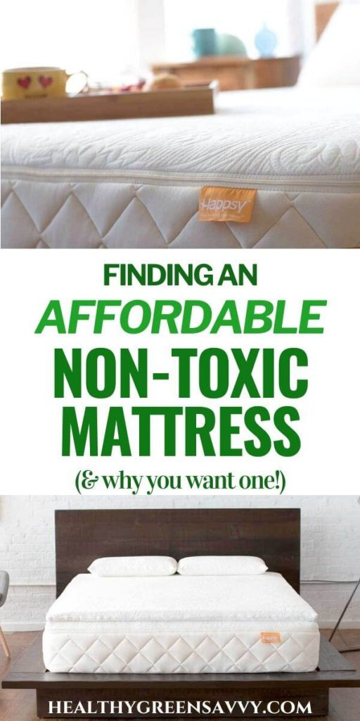 pin with photoes of Happsy's affordable non-toxic mattress with title text