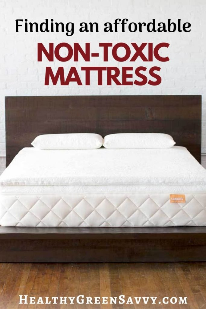 pin with photo of Happsy's affordable non-toxic mattress with title text overlay