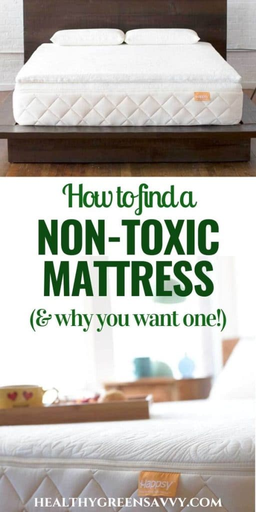 pin with photoes of Happsy's non-toxic mattress with title text