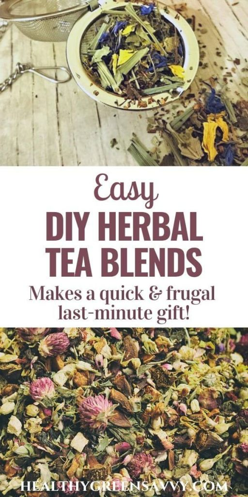 pin with photos of herbal teas with title text