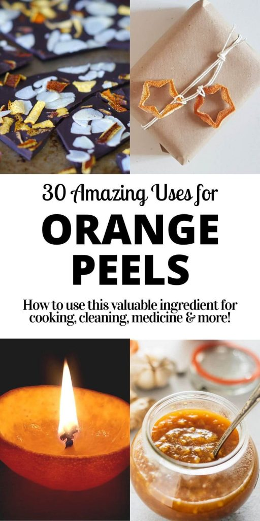pin with photos of orange peels used in chocolate, on gift, as candle and in sauce