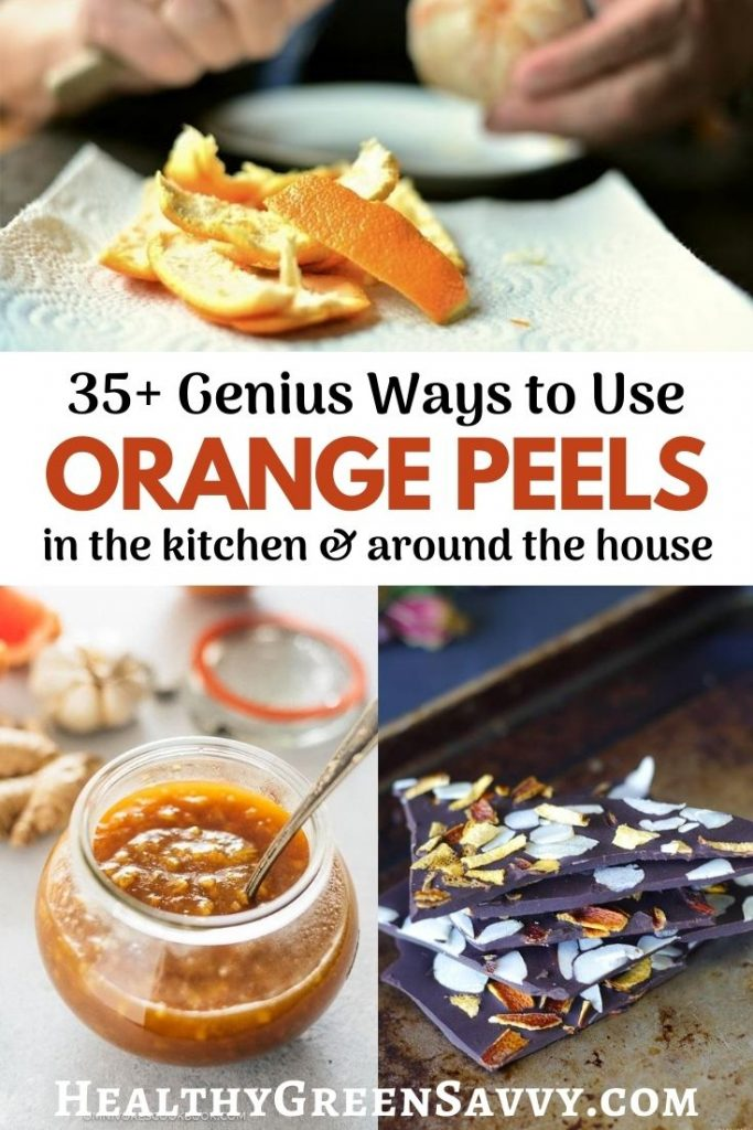 pin with  title text and someone peeling oranges, orange sauce, and chocolate bark with orange peels