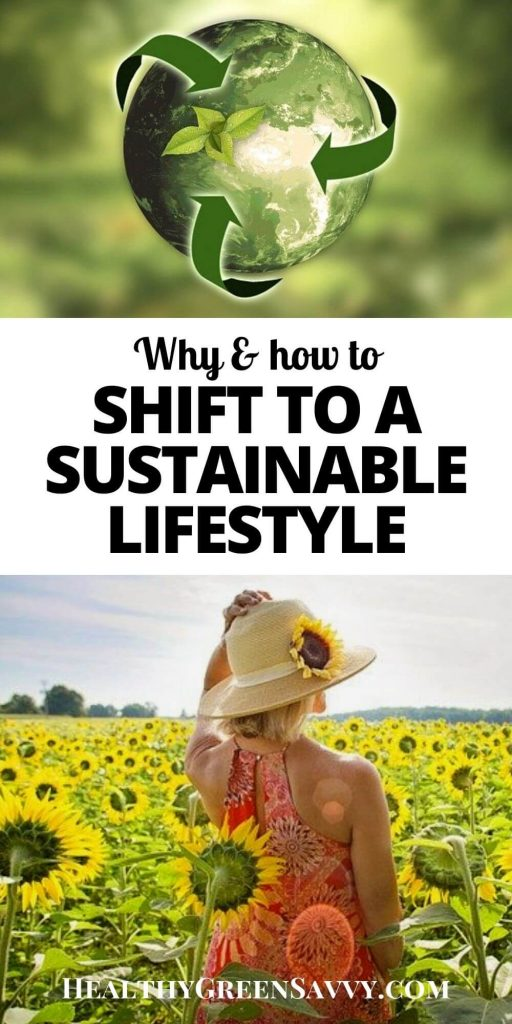 pin with images of earth with recycling arrows to represent sustainability and woman standing in field of sunflowers with title text