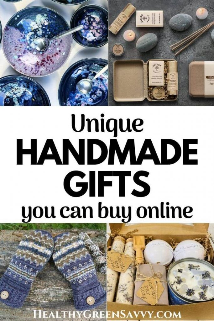 cover photo collage of handmade gifts you can buy: pottery bowls, handmade body care for men, upcycled sweater mittens, and handmade spa set,