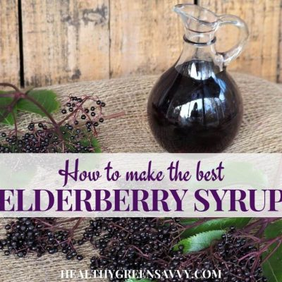 cover photo of photo of homemade elderberry syrup and fresh elderberries