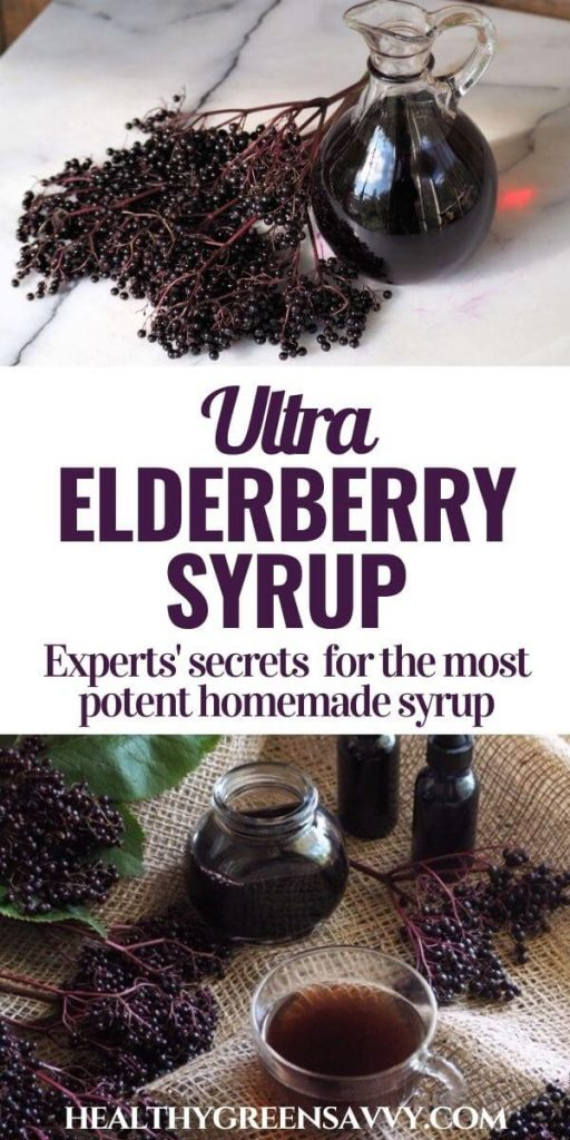 pin with photos of homemade elderberry syrup, fresh elderberries, and title text