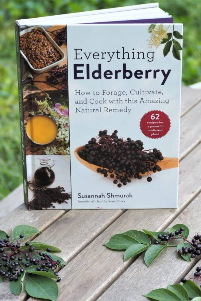 photo of my new book, Everything Elderberry, on a table with berry clusters