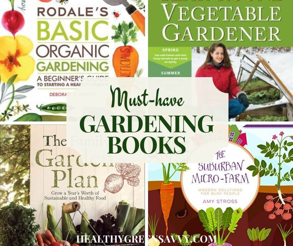 collage of best gardening books covers with title text overlay