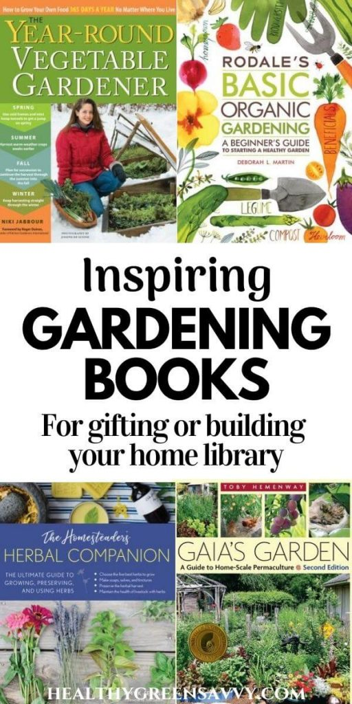 pin with collage of best gardening books and title text