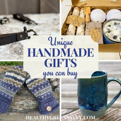 cover photo collage of handmade gifts you can buy: personalized key chain, handmade spa set, upcycled sweater mittens, and handmade coffee mug