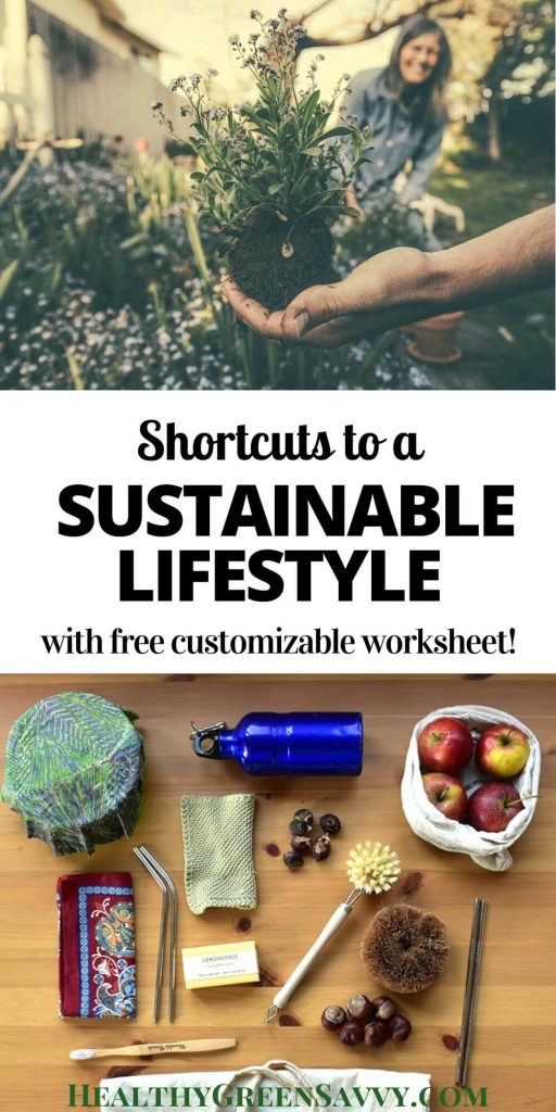 sustainable living pin with photos of hand holding plant and zero-waste tools like reusable bags and water bottle