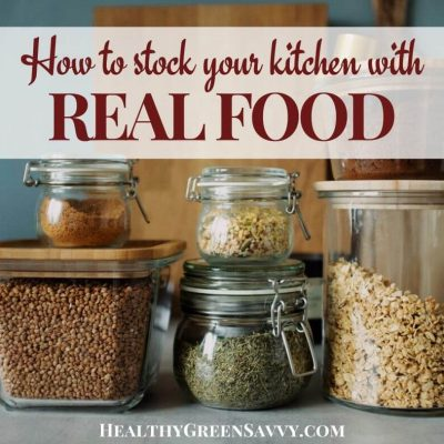 cover photo of food stored in jars with title text overlay