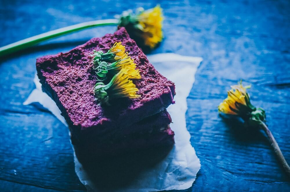 how to eat dandelions -- photo of dandelion beet bars from Moon and Spoon and Yum