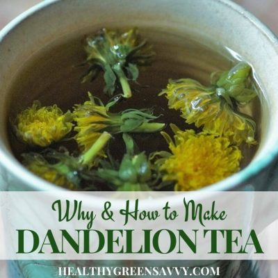 pin with photo of dandelion tea in cup with title text overlay