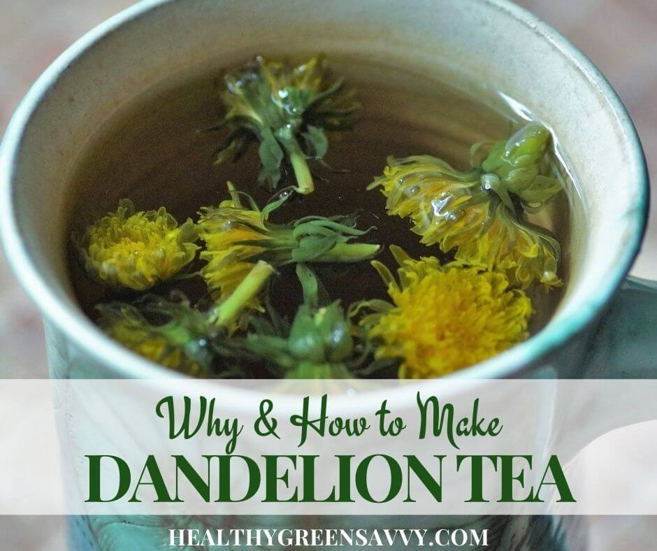 cover photo of dandelion tea in cup with title text overlay