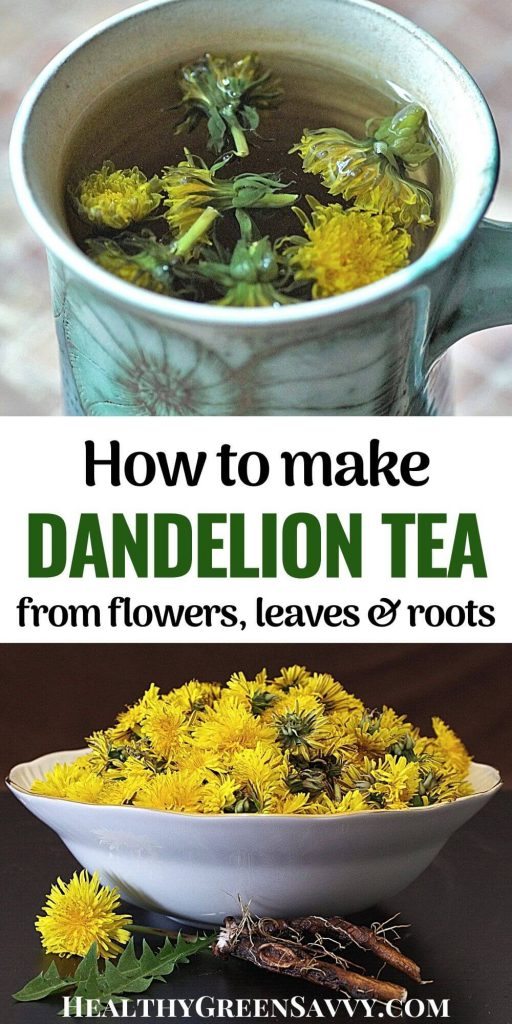 pin with photo of dandelion tea in cup and title text