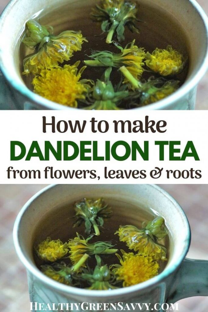 cover photo of dandelion tea in cup with title text